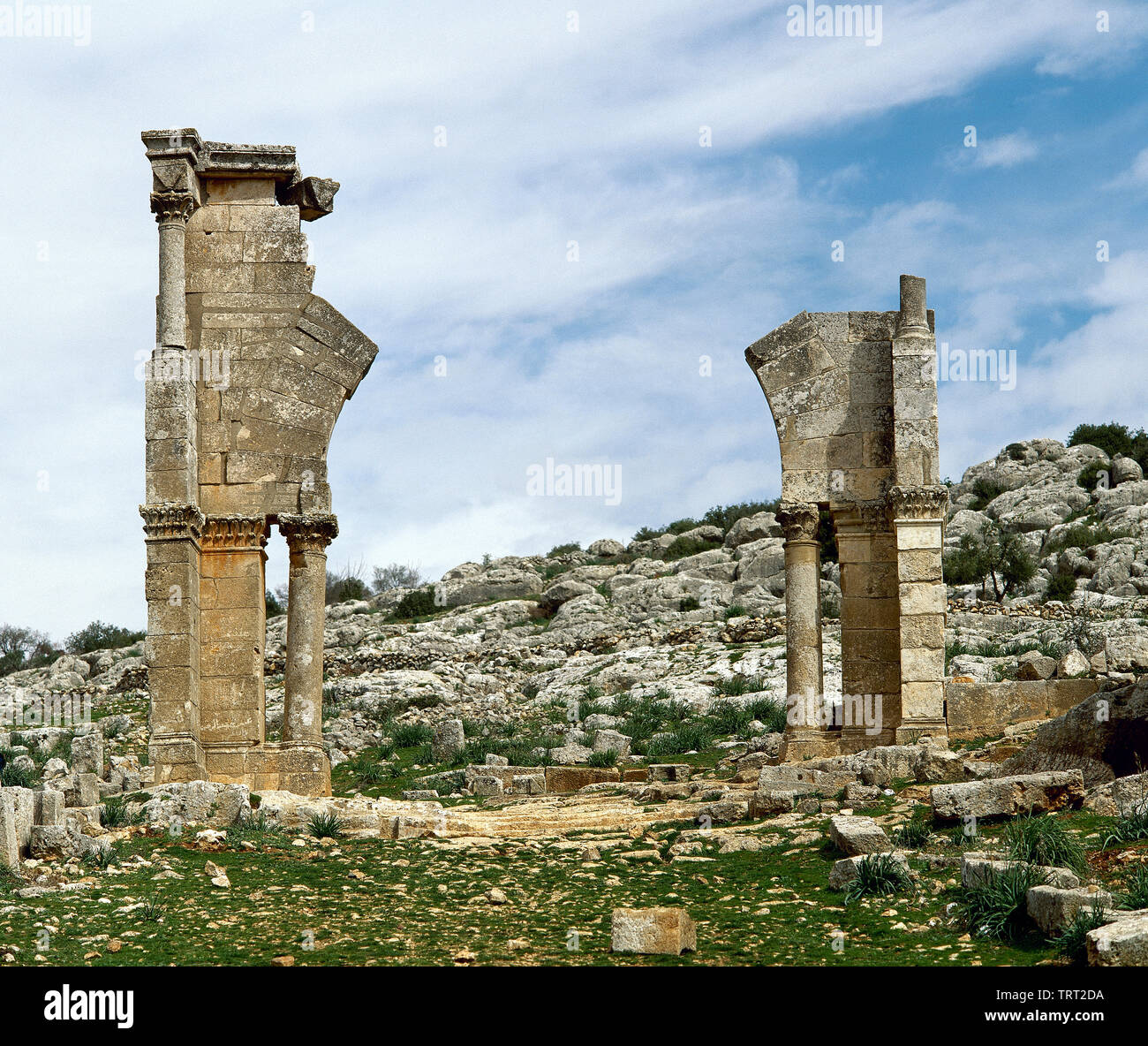 Syria. Aleppo. Church of Saint Simeon Stylites. Remains of the old door. Byzantine style. Historical photography (taken before the Syrian Civil War). - Stock Image