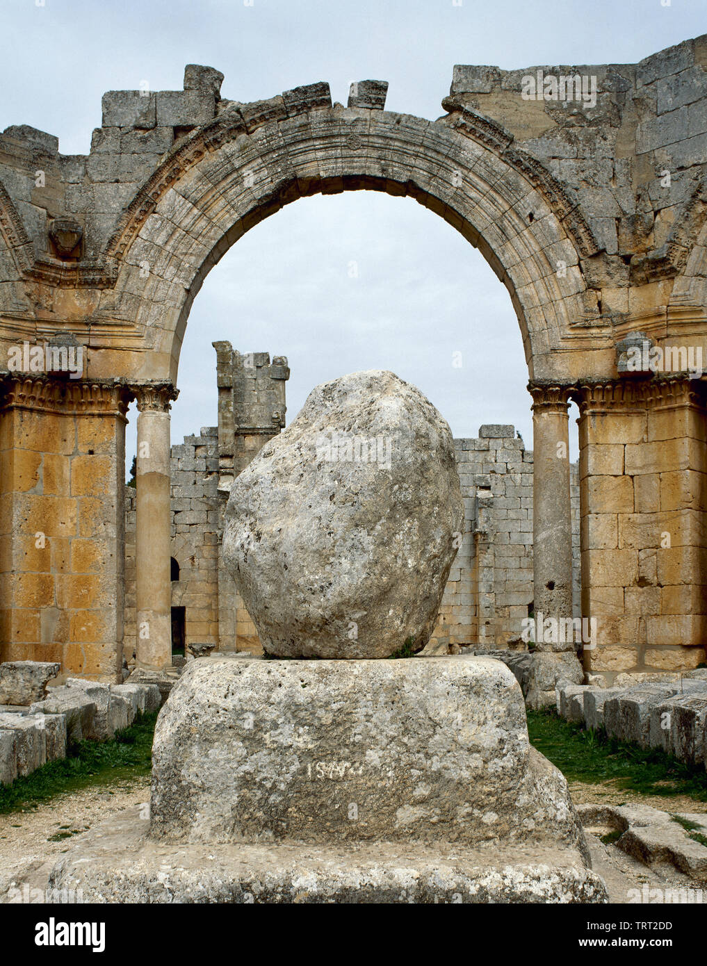 Syria. Aleppo. Church of Saint Simeon Stylites. It was built on the site of the pillar of St. Simeon Stylites. Byzantine style. Remains of the pillar. Mount Simeon. Historical photography (taken before the Syrian Civil War). - Stock Image