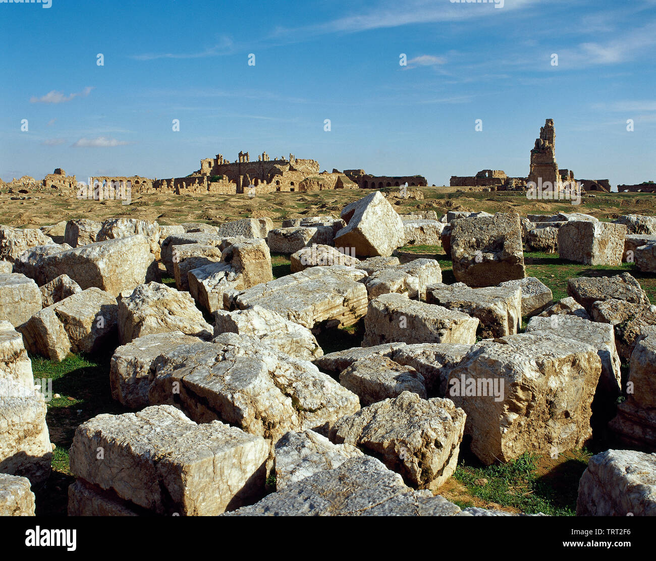 Syria. Resafa. Known in Roman times as Sergiopolis and briefly as Anastasiopolis. Archaeological site. Ruins of the Byzantine Khan, where the merchants of the caravans were staying and trading. Photo taken before Syrian Civil War. - Stock Image