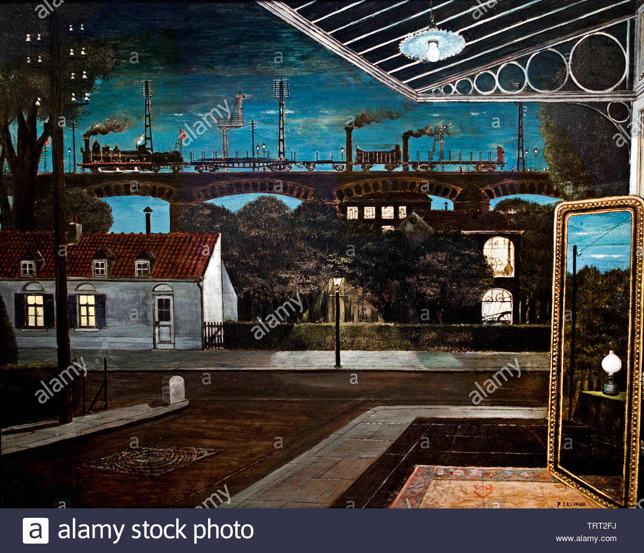 The Viaduct by Paul Delvaux born in 1897 Belgian Belgium, ( dream-like scenes of women, classical architecture, trains, skeletons, in combination, Surrealist movement.) - Stock Image