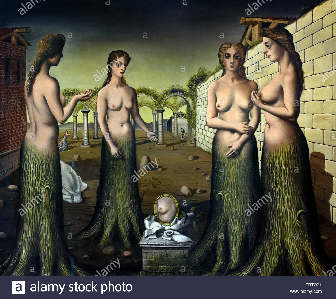 The Brake of the day1937  by Paul Delvaux born in 1897 Belgian Belgium, ( dream-like scenes of women, classical architecture, trains, skeletons, in combination, Surrealist movement.) - Stock Image