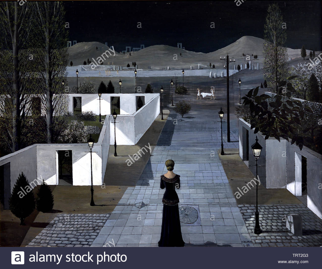 Landscape with Lanterns by Paul Delvaux born in 1897 Belgian Belgium, ( dream-like scenes of women, classical architecture, trains, skeletons, in combination, Surrealist movement.) - Stock Image
