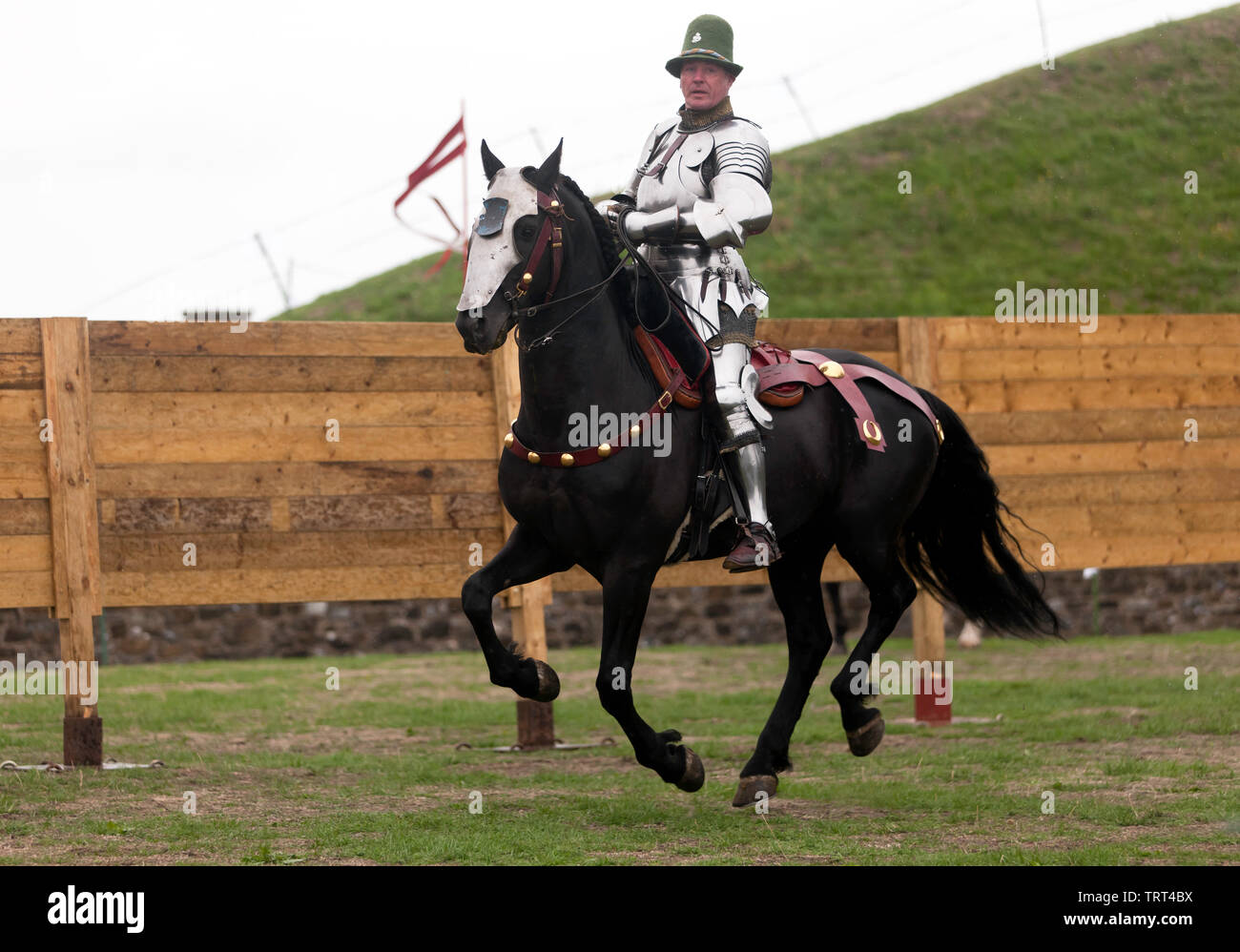 A Knight demonstrating his Horse riding skills, during an English Heritage Jousting Tournament at Dover Castle, August 2018 - Stock Image