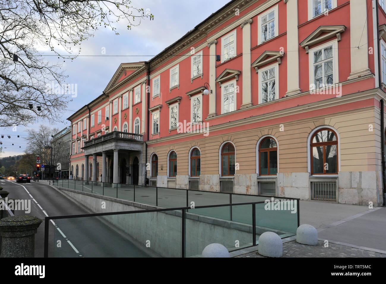 The Institute of Contemporary History building, Congress square, Ljubljana city, Slovenia, Europe - Stock Image