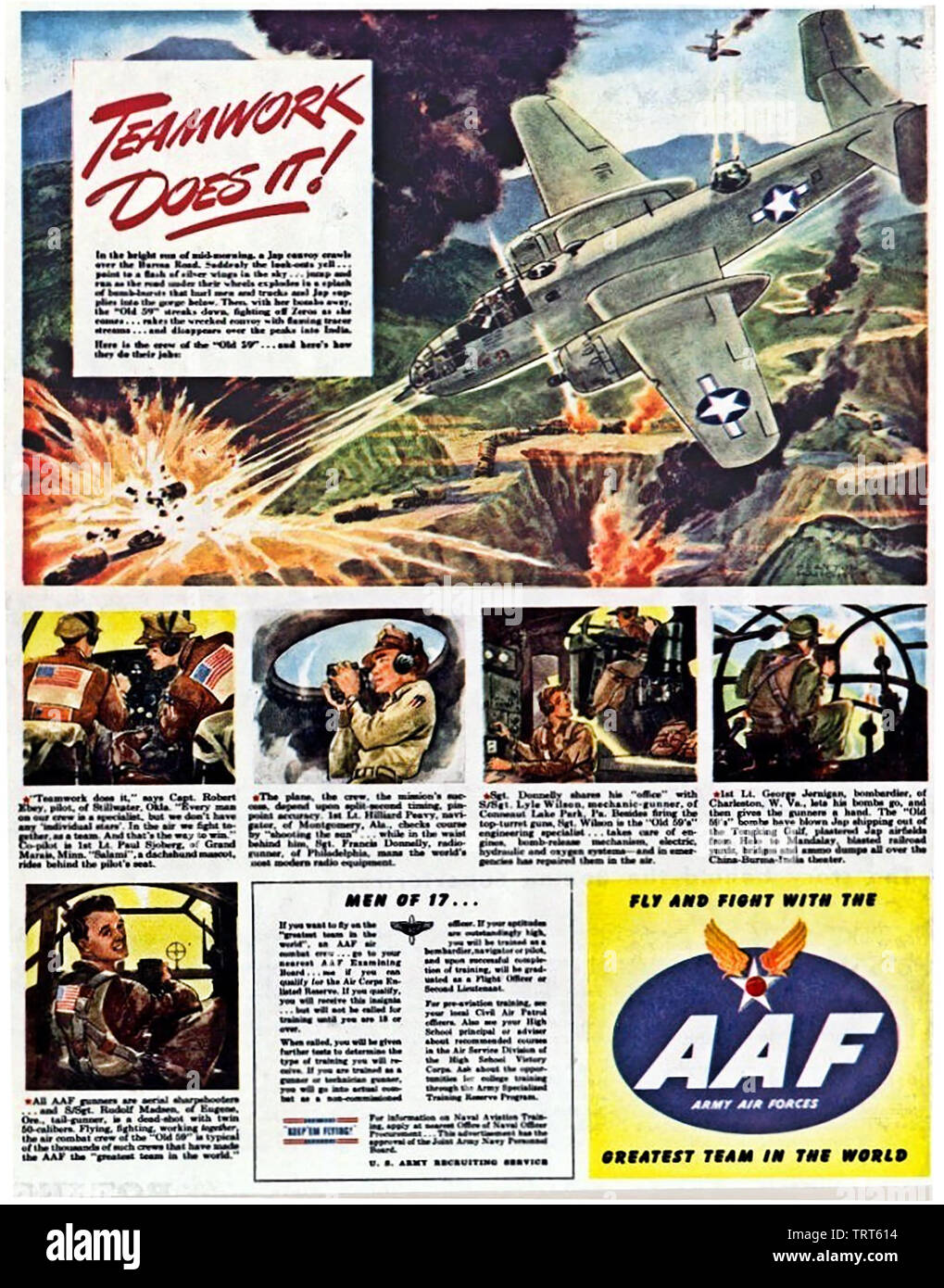 AMERICAN AIRFORCE RECRUITING POSTER about 1944 - Stock Image