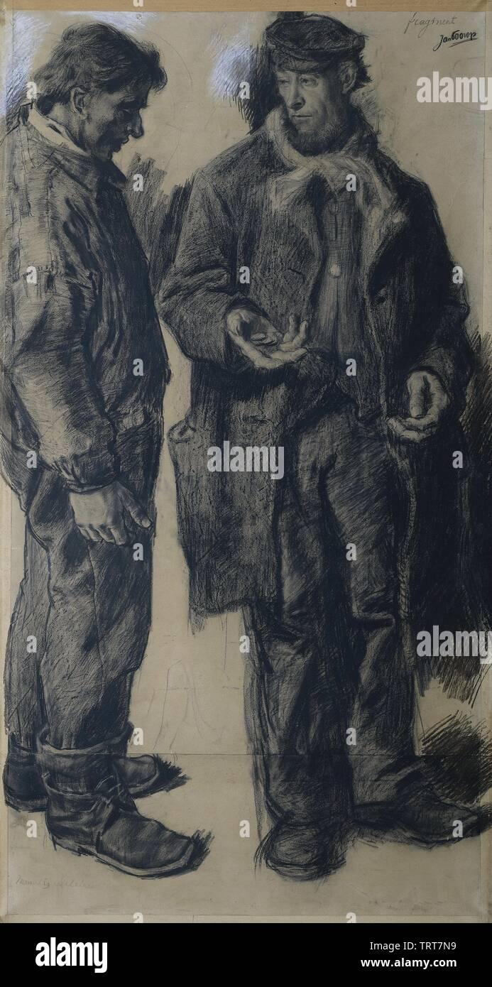 ''Mauvais salaire': Twee werklieden; Nederlands: Twee werklieden; between 1868 and 1919 date QS:P571,+1500-00-00T00:00:00Z/6,P1319,+1868-00-00T00:00:0 - Stock Image