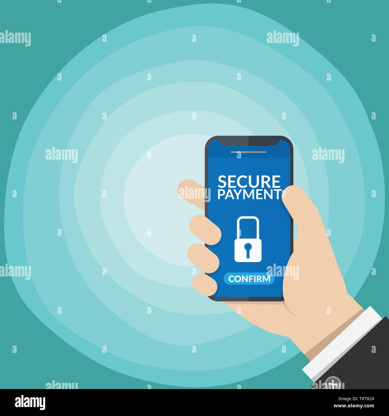 secure payment notification with key lock symbol in a smart phone screen on business man's hand isolated on gradient blue background. vector illustrat - Stock Vector