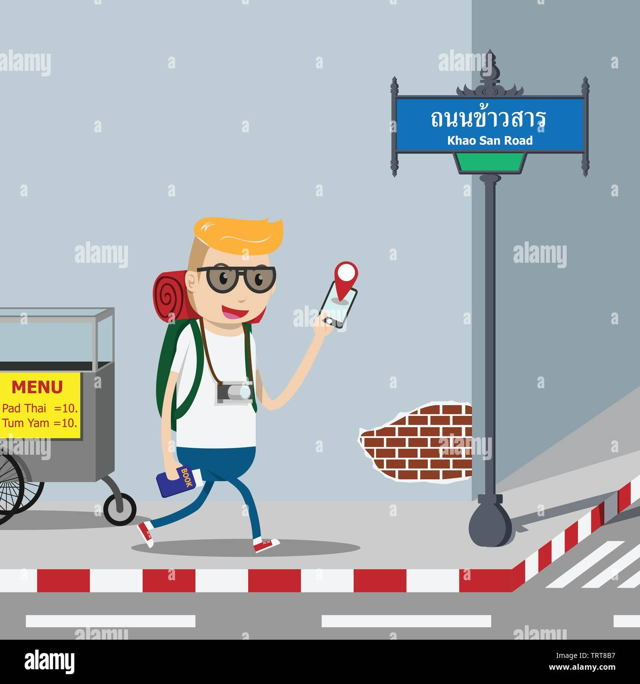 Backpacker tourist with backpack, camera and book guide using mobile navigation map application on smart phone for direction information.Traveler walk Stock Vector