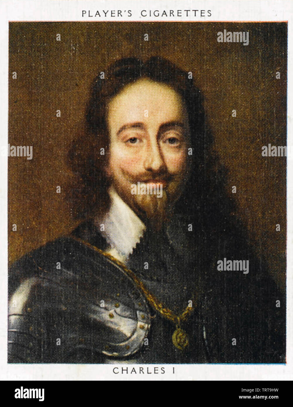 CHARLES I OF ENGLAND (1600-1649) on a 1930s cigarette card - Stock Image