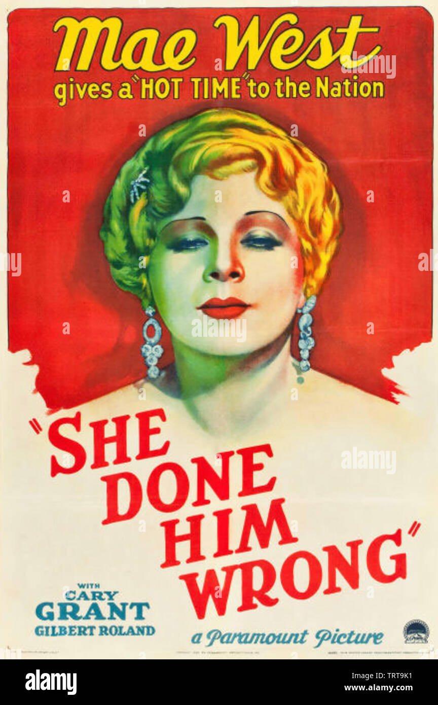 SHE DONE HIM WRONG 1933 Paramount Pictures film with Mae West - Stock Image