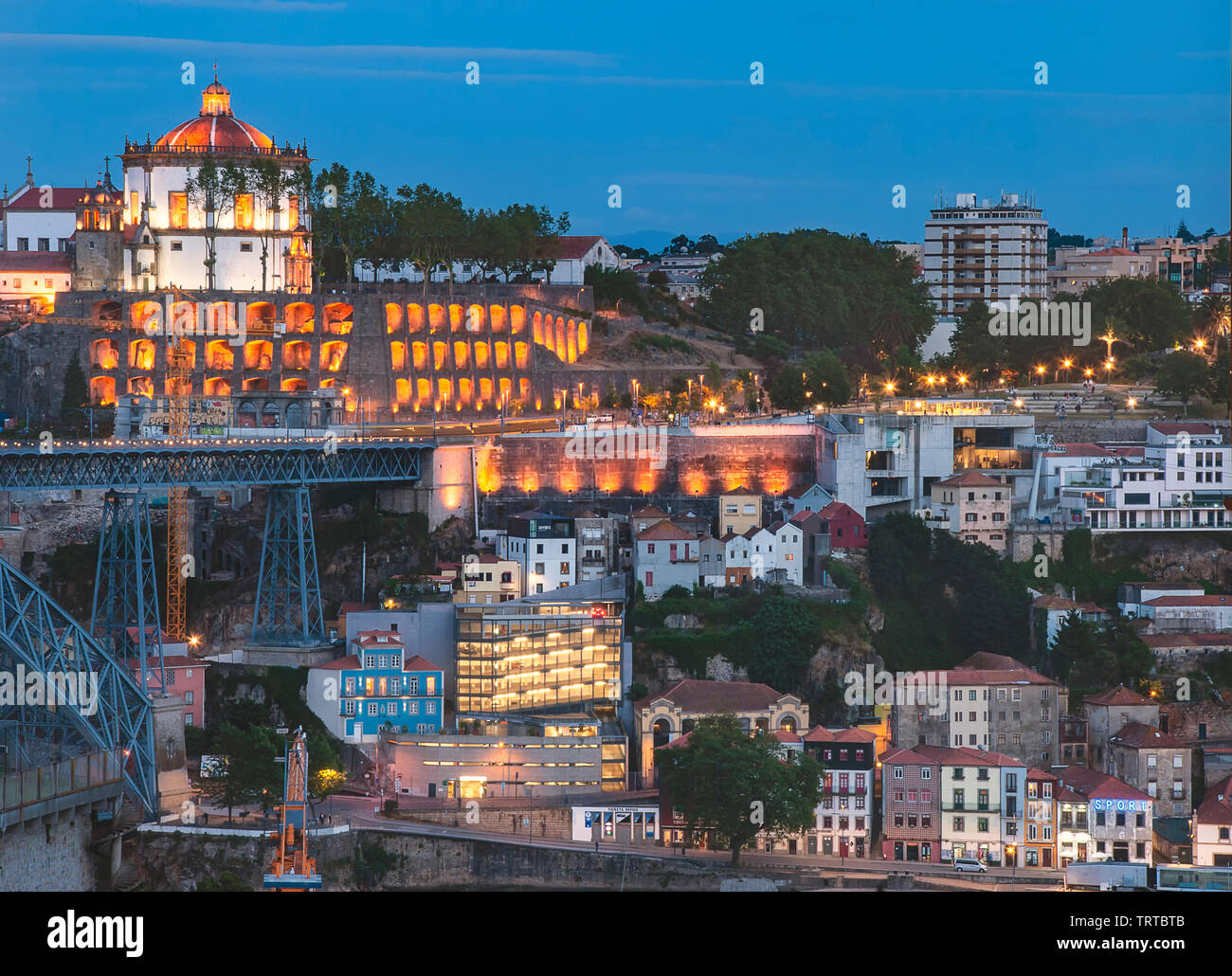 The Monastery of Serra do Pilar overlooking the Duoro River in Porto, Portugal - Stock Image