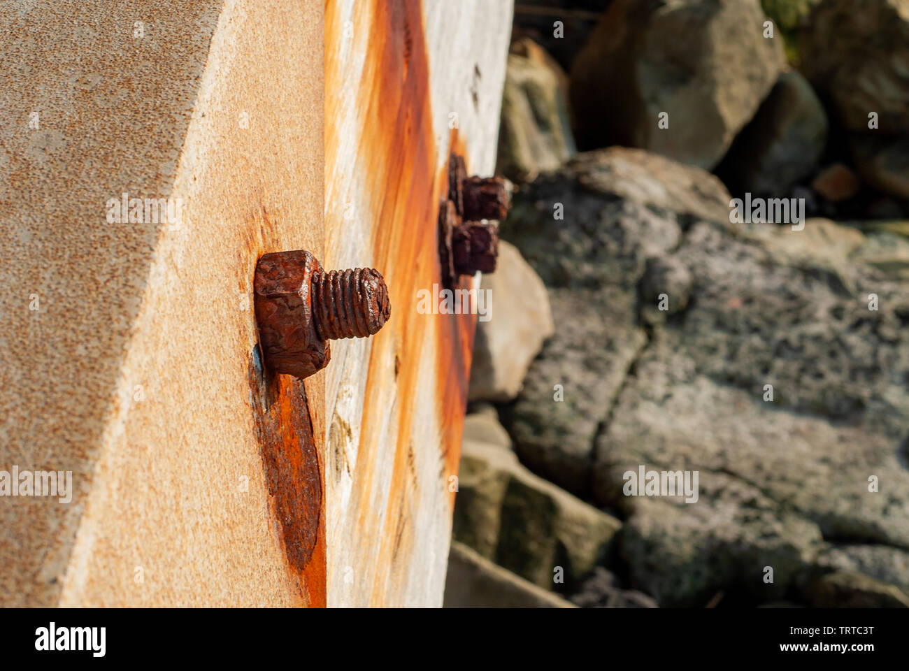 Pin and bolt rusted from salt water, taken on the bridge of the Massa Lubrense seafront, near Sorrento - Stock Image