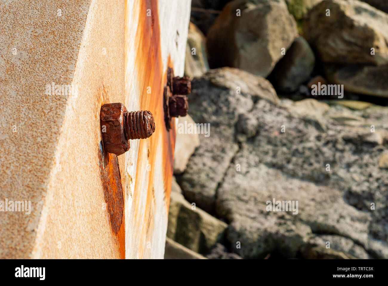 Pin rusted from salt water, taken on the bridge of the Massa Lubrense seafront, near Sorrento - Stock Image