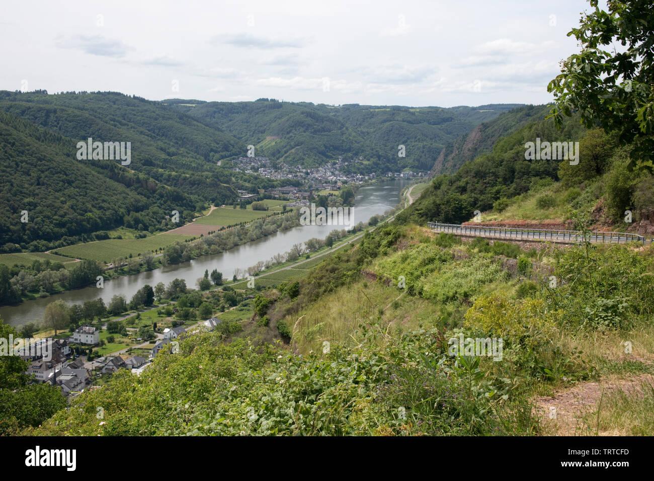 Blick vom Valwiggerberg ins Moseltal auf Cochem-Sehl, Valwig, Rheinland-Pfalz, Deutschland - Stock Image