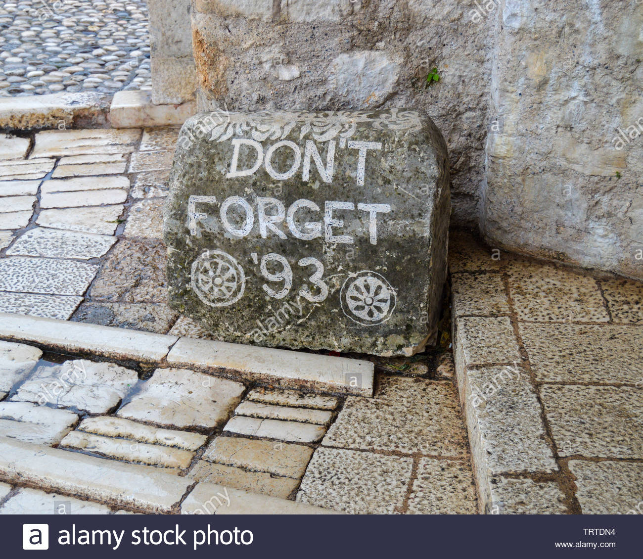 Memorial stone for the victims of the Bosnia War, Mostar, Bosnia & Herzegovina - Stock Image