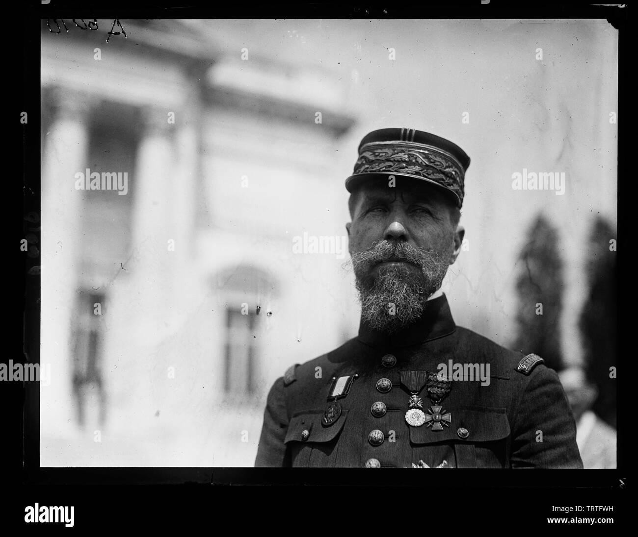 'English: Title: ...]e up of Gen. Henri Joseph Eugene Gourand, French General Abstract/medium: 1 negative: glass; 4 x 5 in. or smaller; 1923; Librar - Stock Image