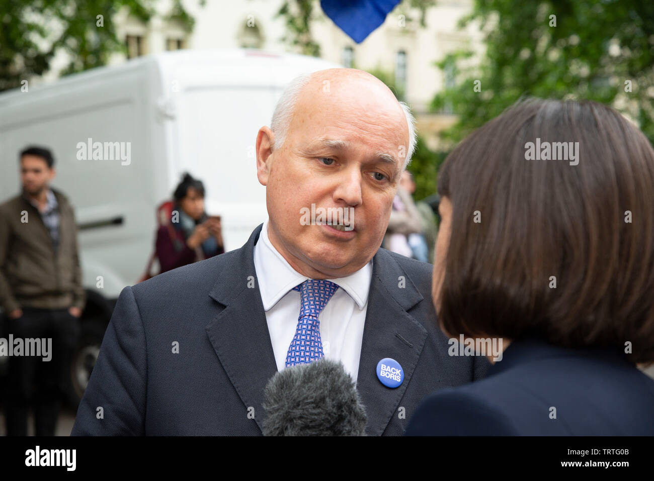 London, UK. 12th June, 2019. Ian Duncan - Smith MP speaks to media outside an event held by  Boris Johnson to launch his bid to be leader of the Conservative and Unionist Party and Prime Minister. Credit: Claire Doherty/Alamy Live News Stock Photo