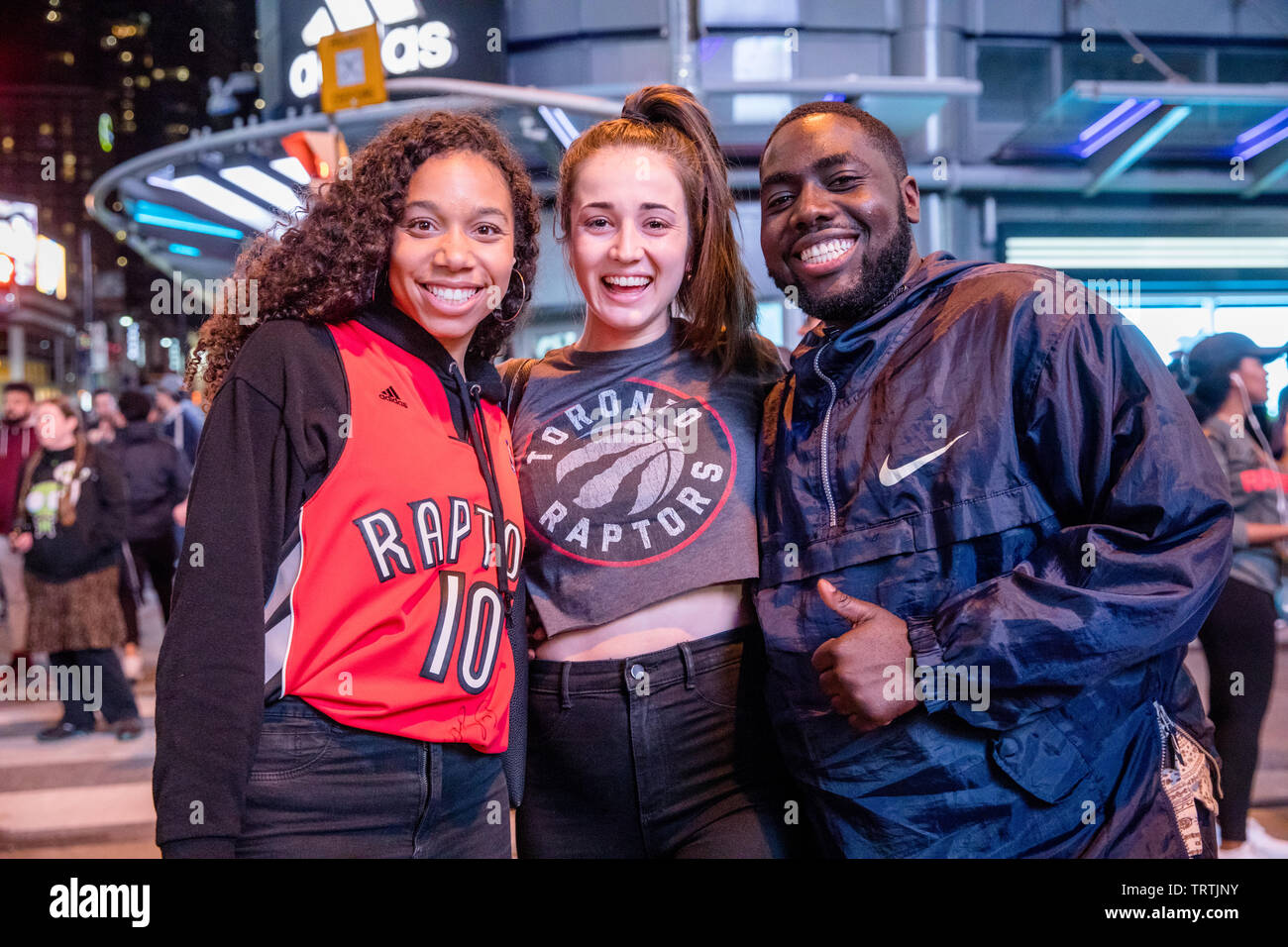 TORONTO, CANADA - JUNE 10, 2019: TORONTO RAPTORS FANS TAKE TO THE STREETS AFTER GAME 5 LOSS TO GOLDEN STATE WARRIORS. - Stock Image
