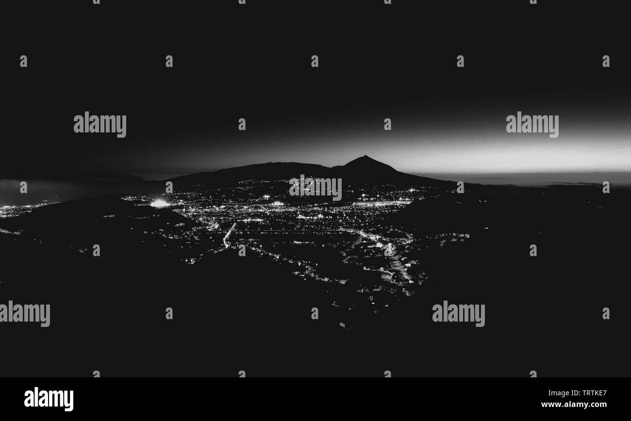 Night photography of volcano El Teide. Tenerife, Spain, Canary Islands. Long exposure. Landscape. - Stock Image