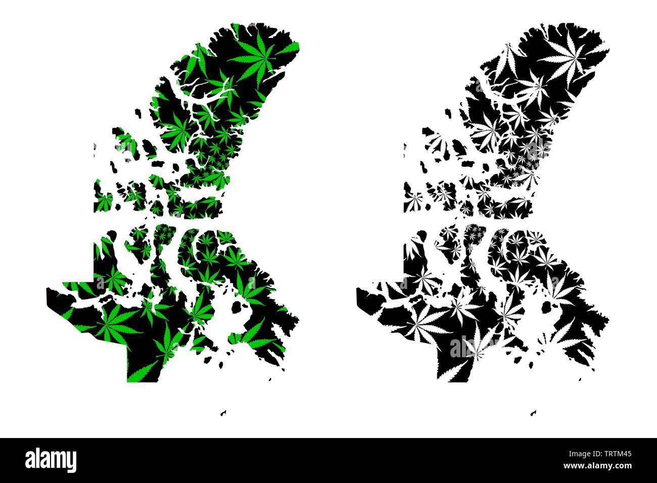 Nunavut (provinces and territories of Canada, Canadian Arctic Archipelago) map is designed cannabis leaf green and black, Nunavut map made of marijuan - Stock Image