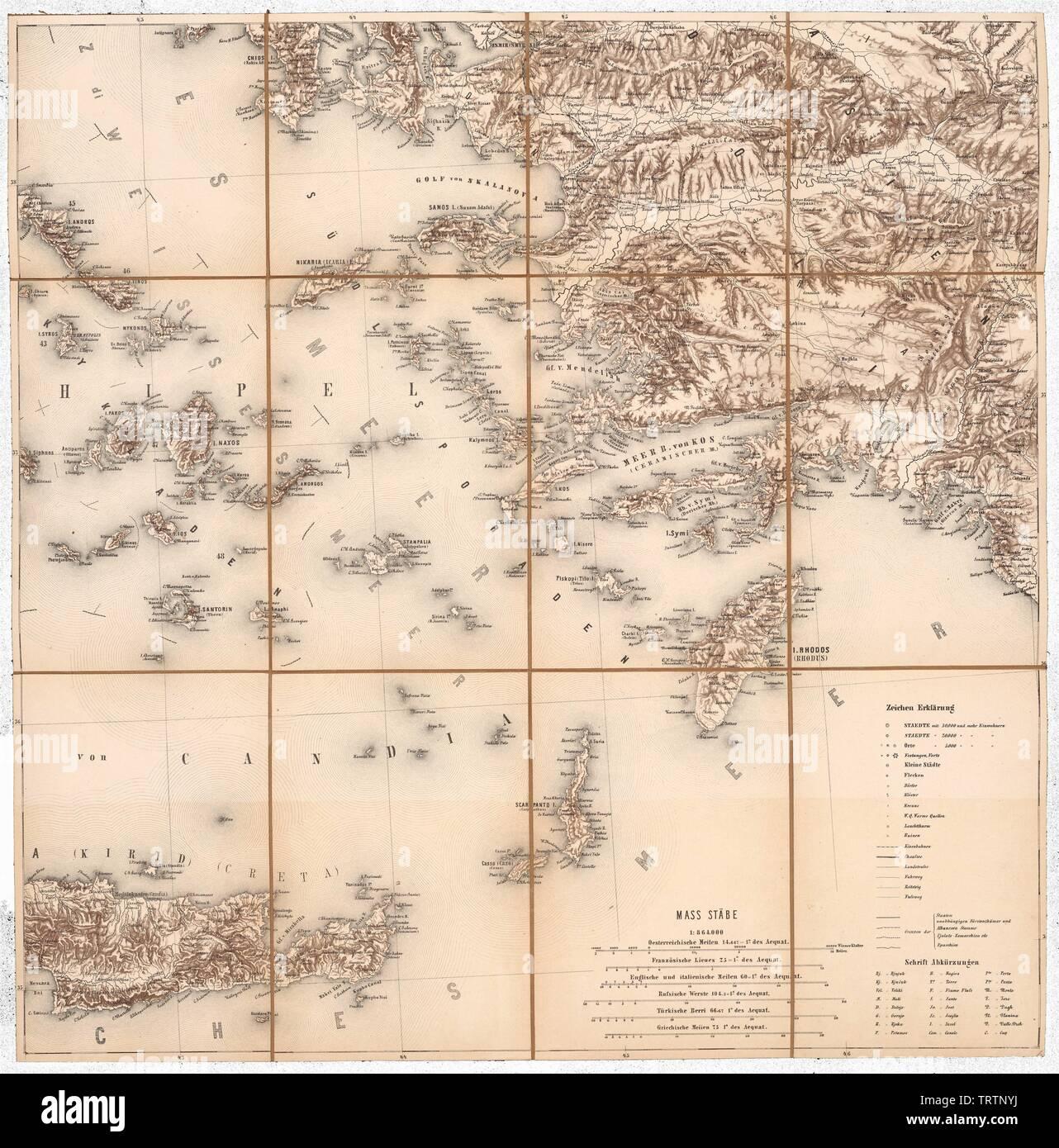 Dodekanes, östliches Kretas, südwestliche türkische Mittelmeerküste aus der Generalkarte der europäischen Türkei und Griechenlands; between Stock Photo