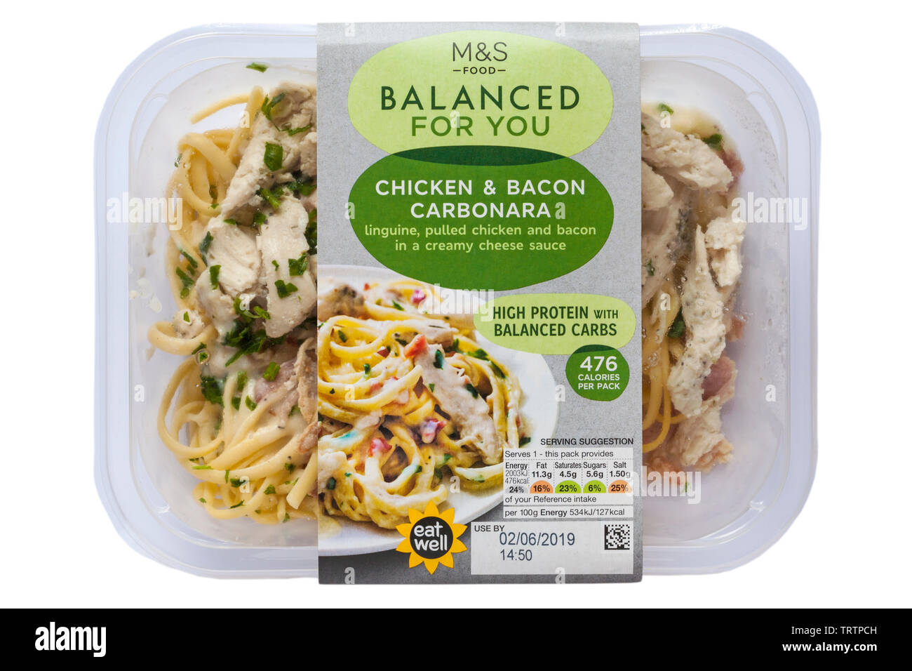 Pack of Chicken & Bacon Carbonara M&S Food Balanced for You isolated on white background - linguine pulled chicken and bacon in a creamy cheese sauce - Stock Image