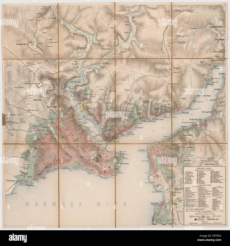 Konstantinopel, Pera, Skutari,Goldenes Horn, südlicher Bosporus, aus der Generalkarte der europäischen Türkei und Griechenlands; between 186 Stock Photo