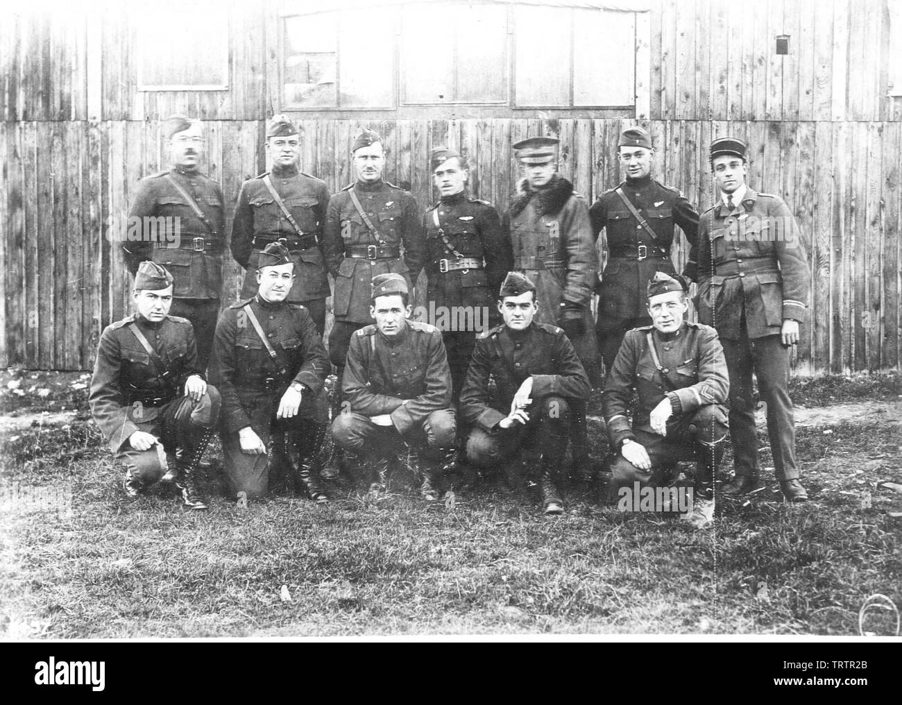 'English: 12th Aero Squadron - Officers Gengault Aerodrome, Toul, France September 1918; 1918; US National Archives, Gorrell's History of the American - Stock Image