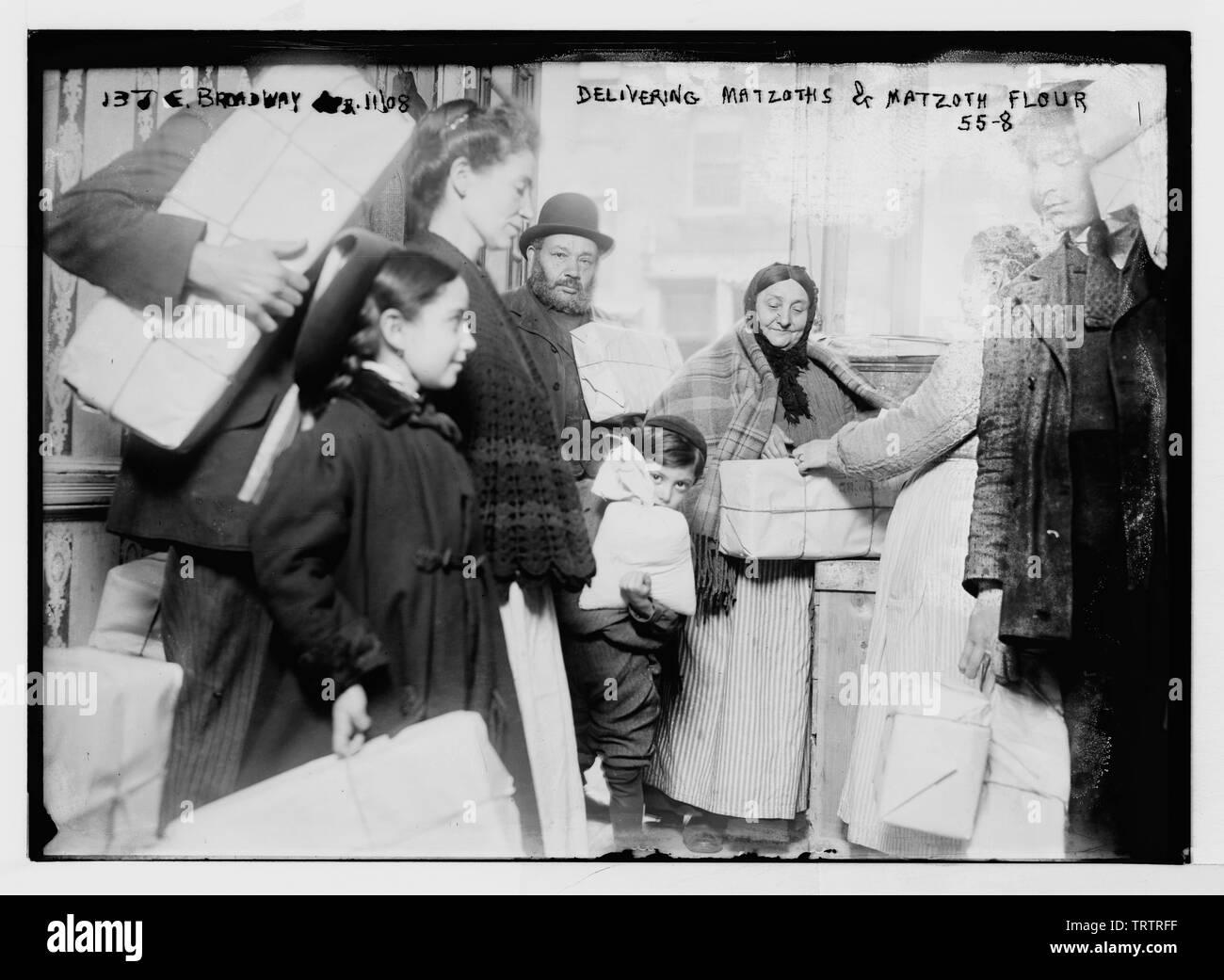 'English: Title: 137 E. Broadway. Delivering matzoths [i.e., matzot] & matzoth [i.e., matza] flour Abstract/medium: 1 negative: glass; 5 x 7 in. or - Stock Image