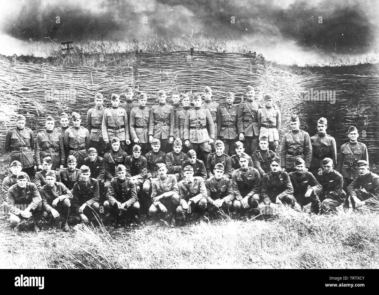 'English: 1st Aero Squadron - Officers.  Ourches Aerodrome, France, May 1918; 1918; US National Archives, Gorrell's History of the American Expedition - Stock Image