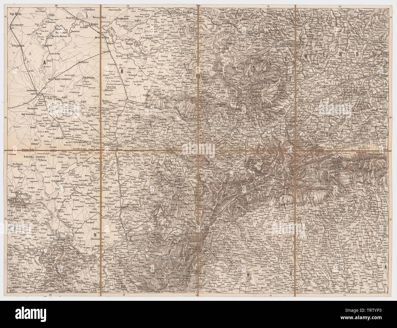 östliches Ungarn und Siebenbürgen aus der Generalkarte der europäischen Türkei und Griechenlands; between 1860 and 1870 date QS:P,+1850-00-0 Stock Photo