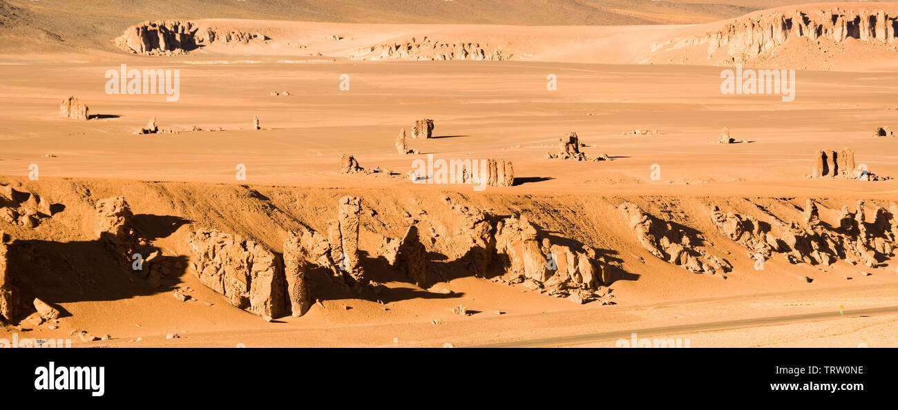 Rocks formation sculptured by the wind named Moais de Tara in the Altiplano at an altitude of 4200m, Atacama desert, Chile, South America - Stock Image