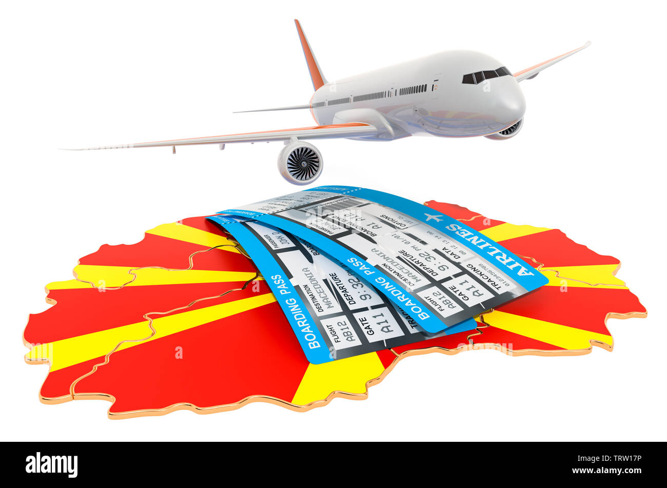 Flights to Macedonia concept. 3D rendering isolated on white background - Stock Image