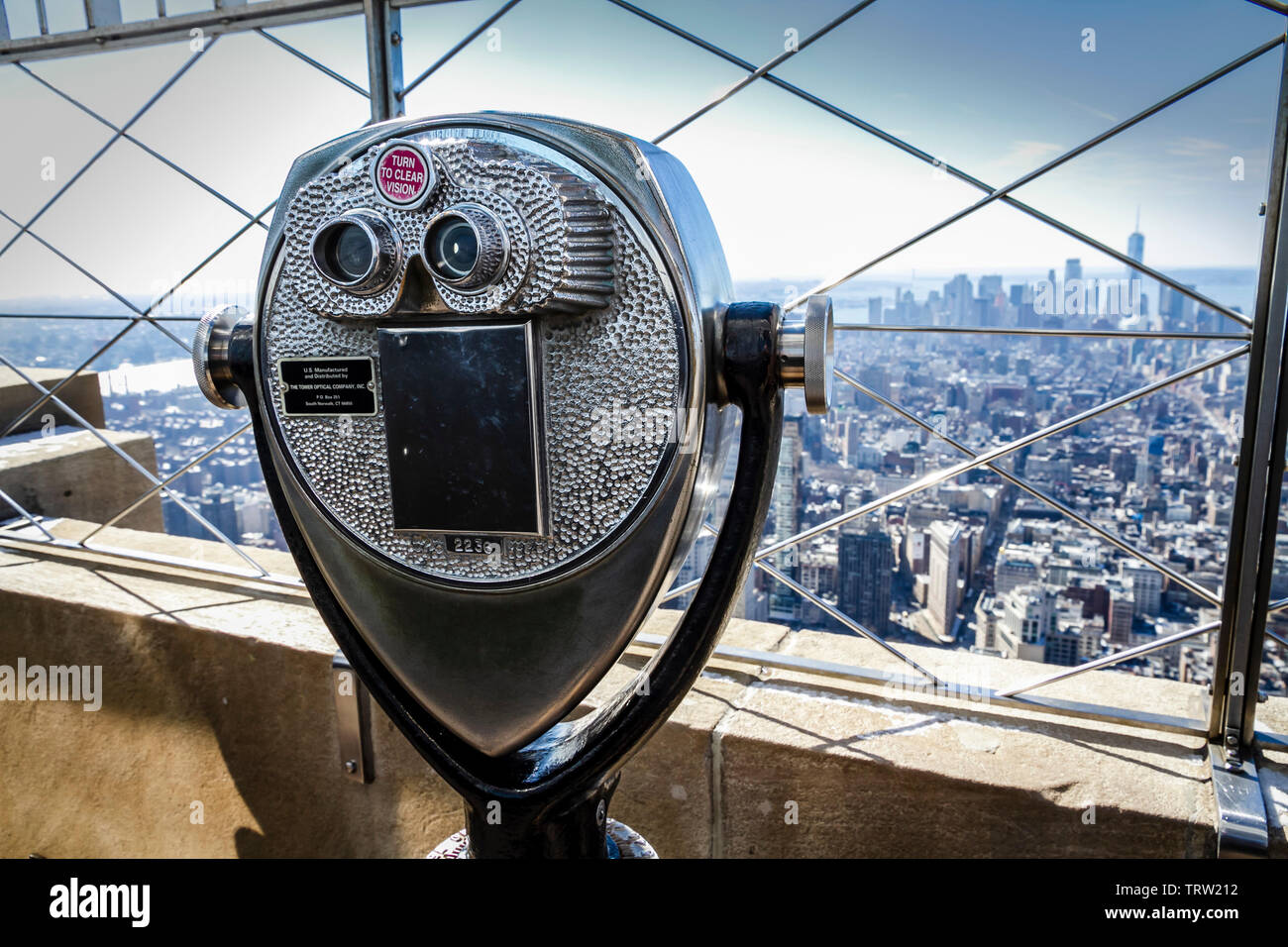 fff9a51cef Tower Optical company binocular viewer on the 86th floor of the Empire  State Building. -