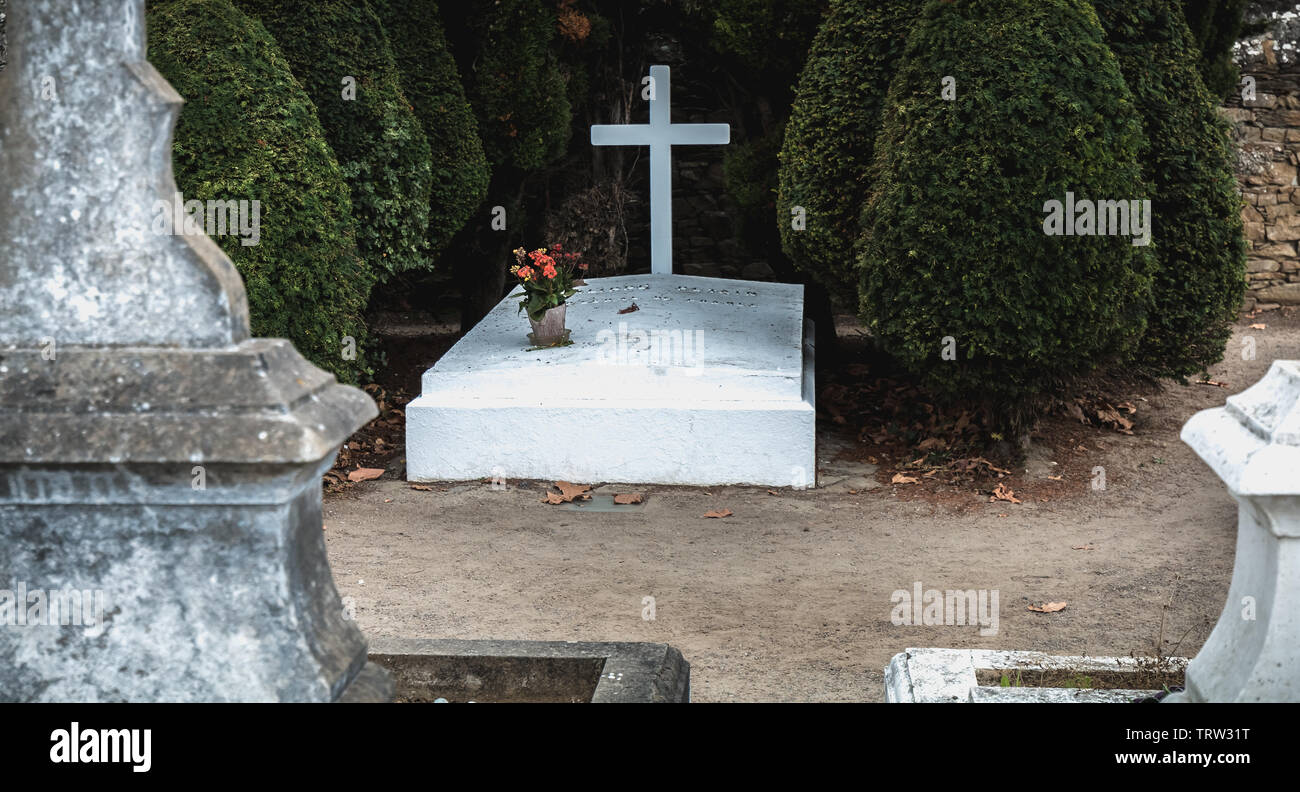Port Joinville on the island of Yeu, France - September 18, 2018 - Philippe Petain Marechal de France in French written on the grave where he is burie - Stock Image