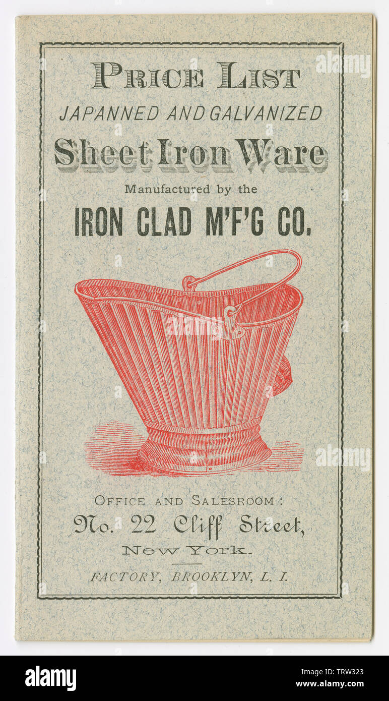 Antique 1881 price list for Japanned and Galvanized Sheet Iron Ware from the Iron Clad Manufacturing Company in Brooklyn, New York. Nellie Bly, American journalist, was head of the company after 1900. - Stock Image