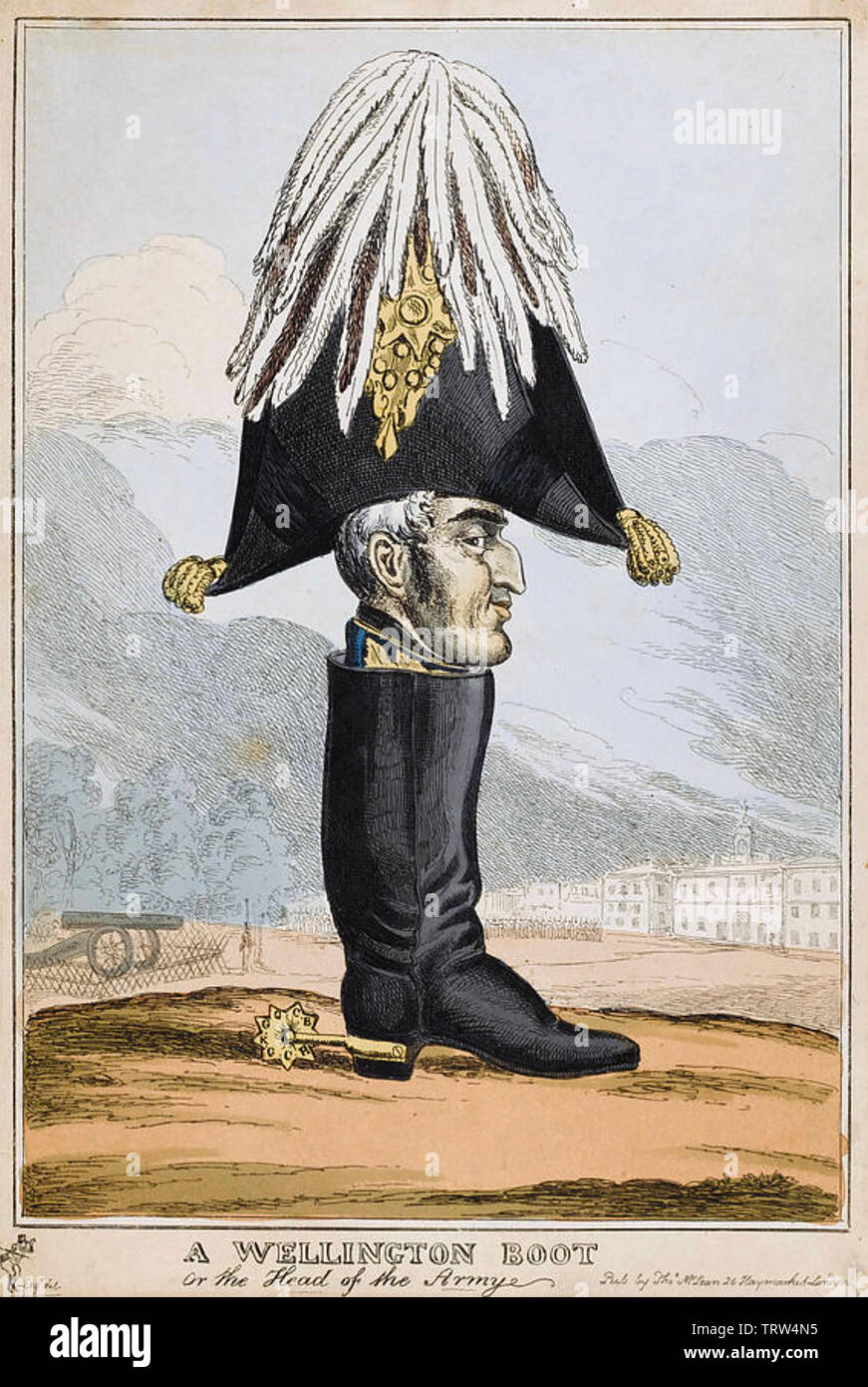 WELLINGTON BOOT CARTOON 1827 showing the Duke of Wellington as head of the British army with Horse Guards Parade at bottom left - Stock Image