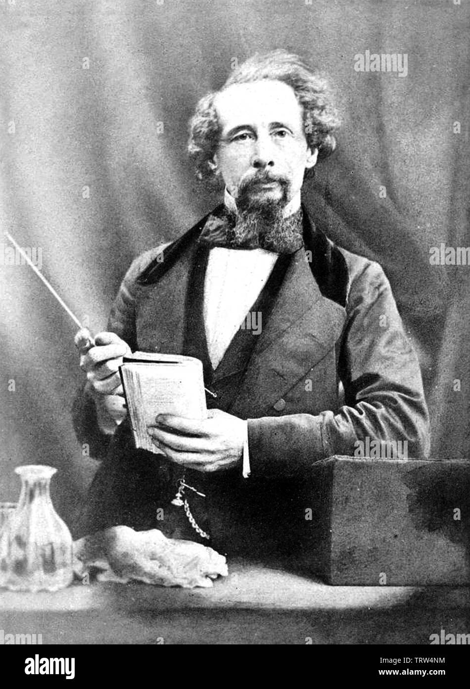 CHARLES DICKENS (1812-1870) English novelist giving a lecture about 1858 Stock Photo