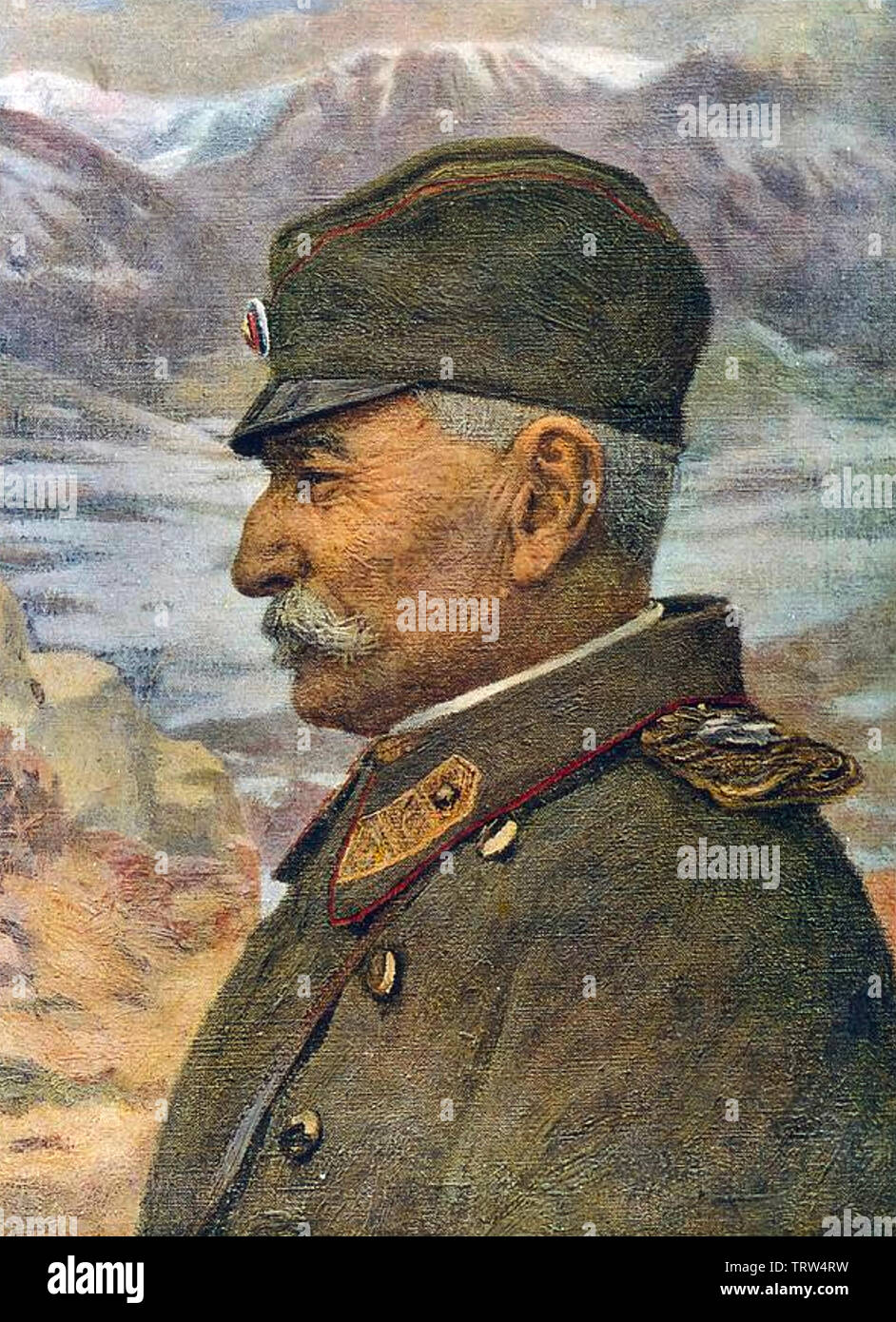 PETER I OF SERBIA (1844-1921) during the First World War - Stock Image