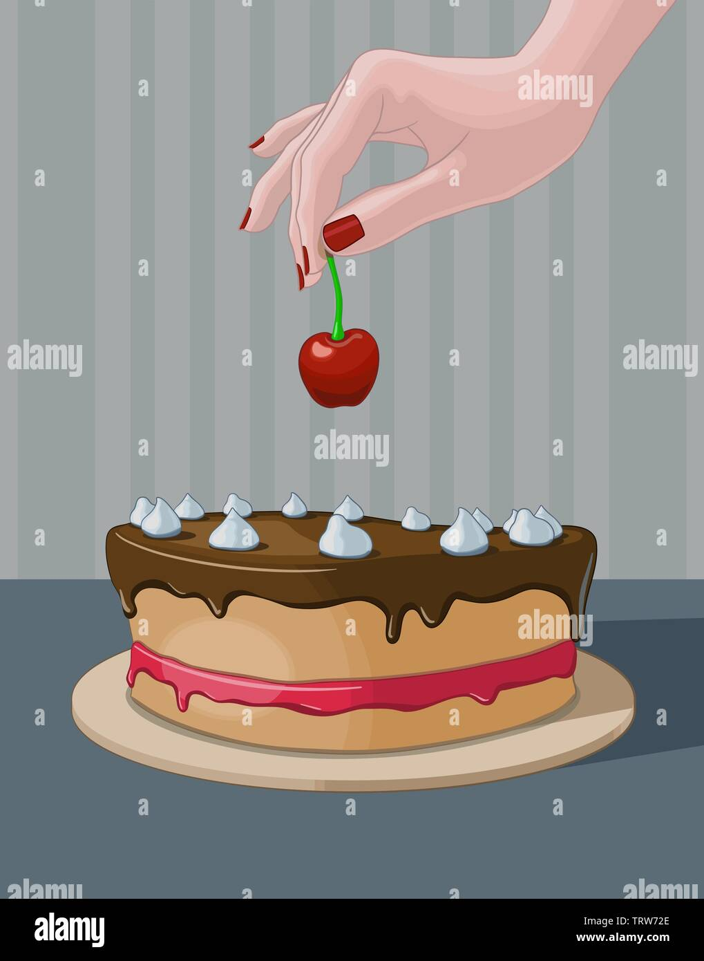 Woman's hand decorating a cake with a cherry. Vector illustration. - Stock Vector