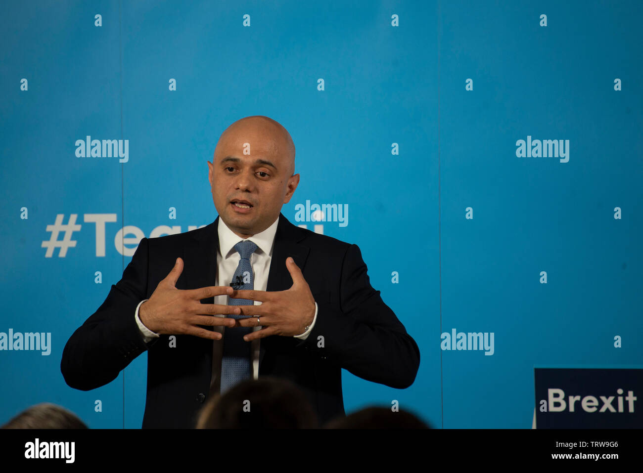 London, UK. 12th June, 2019. Home Secretary Sajid Javid launches his bid to be leader of the Conservative and Unionist Party and Prime Minister. Credit: Claire Doherty/Alamy Live News Stock Photo