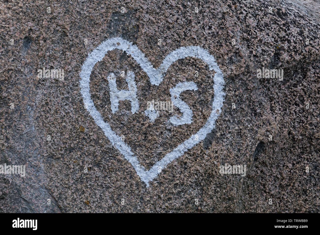 love heart on a rock, coast near Steinbeck, Mecklenburg-West Pomerania, Germany - Stock Image