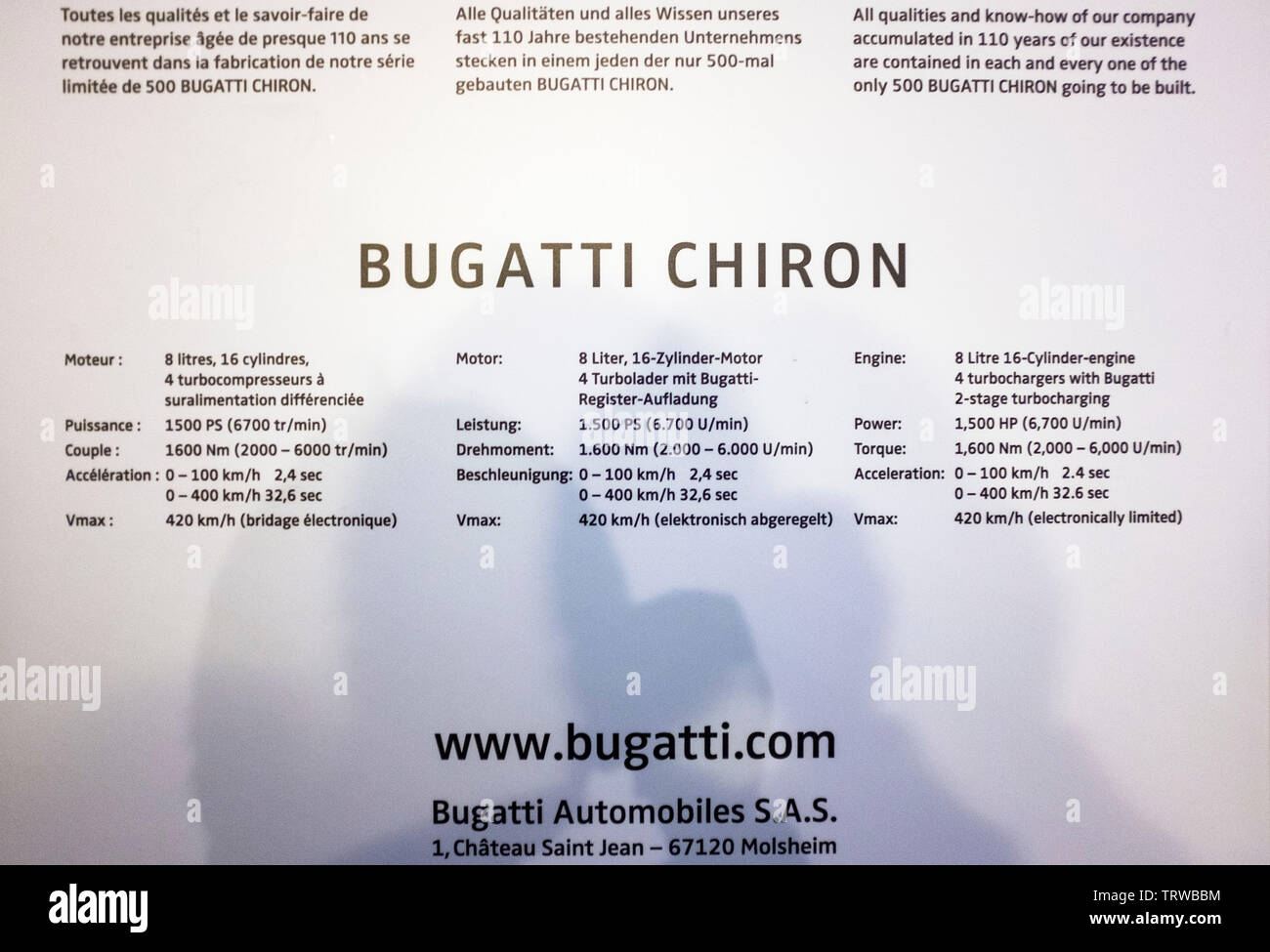 Bugatti Chiron car, technical specifications datasheet, Alsace, France, Europe, Stock Photo