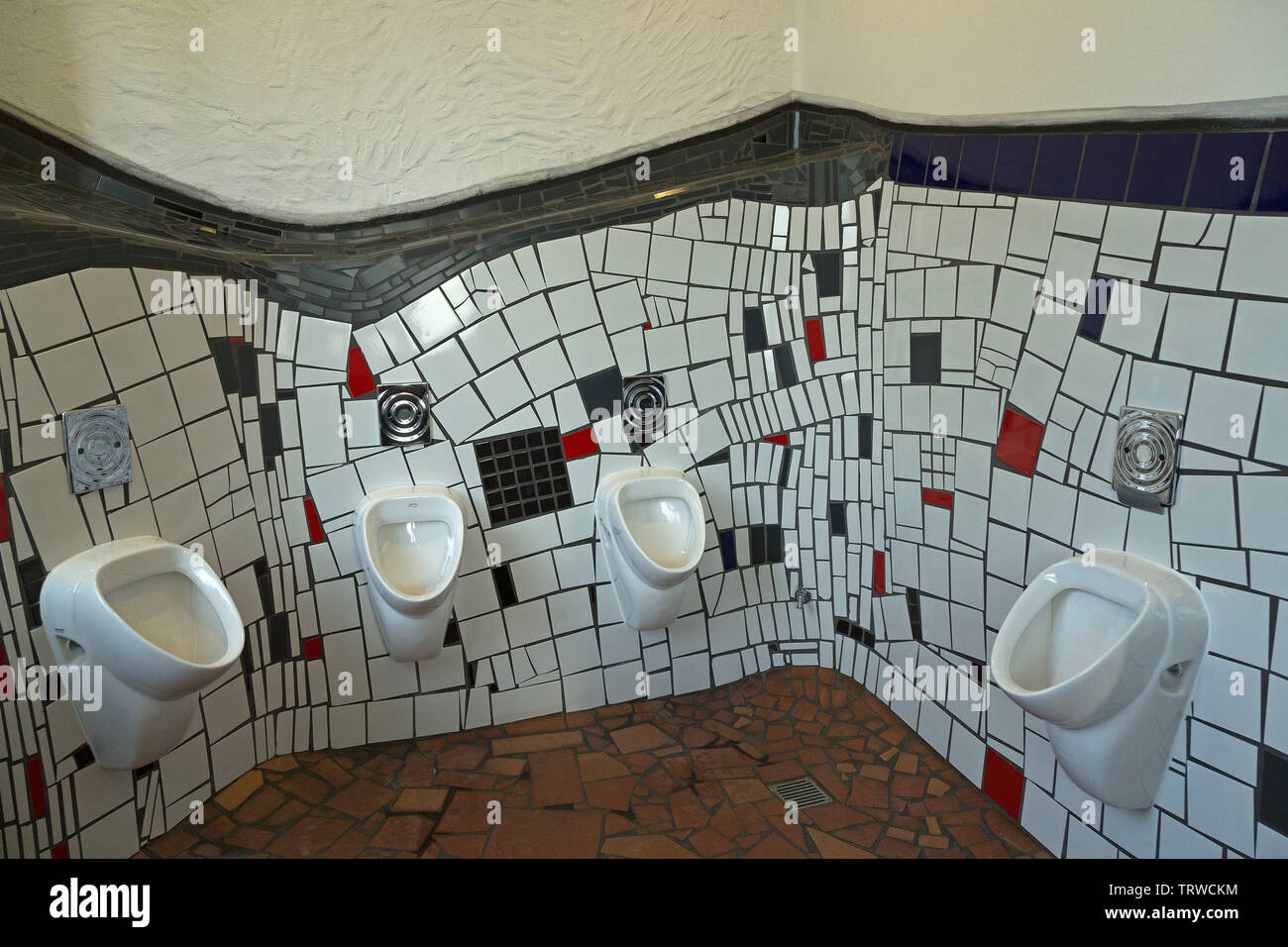 toilet, Hunderwasser Station, Uelzen, Lower Saxony, Germany - Stock Image