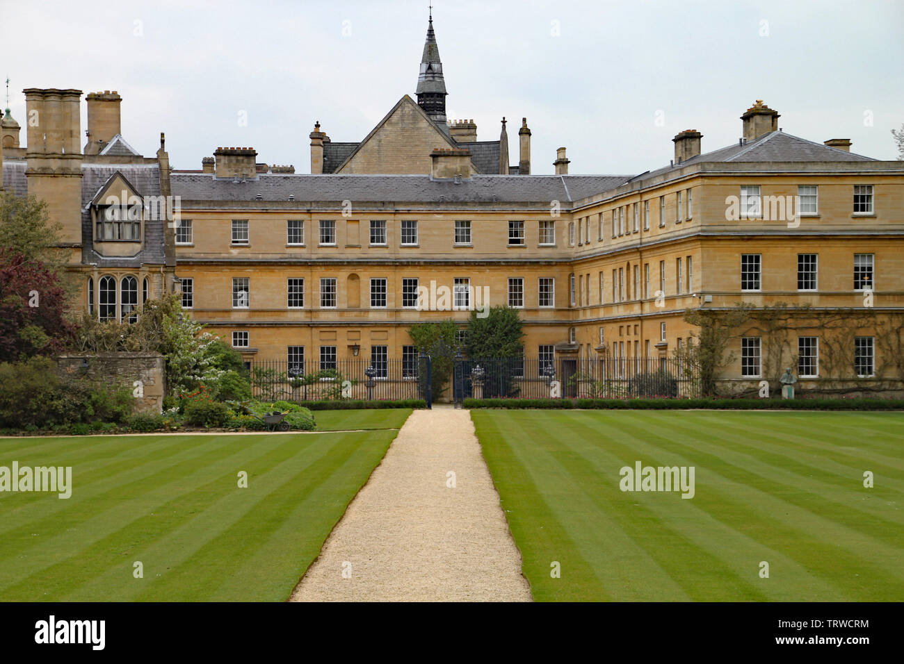 The well manicured lawns at Trinity College in Oxford - Stock Image
