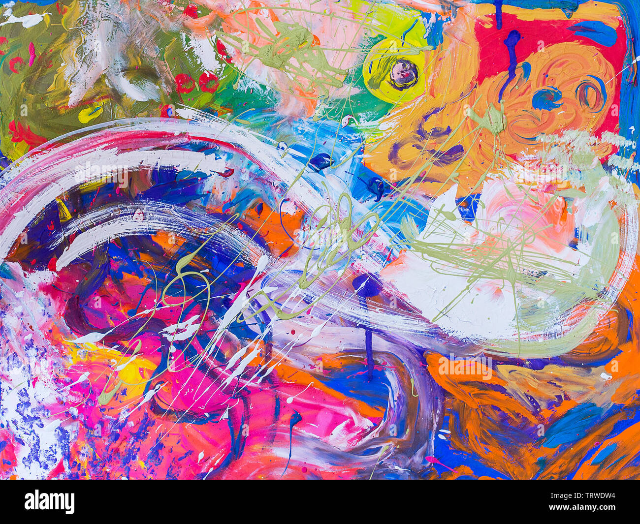 Picture, abstract painted canvas as multicolor background. Multicolor abstract background of varicoloured strokes of brush - Stock Image