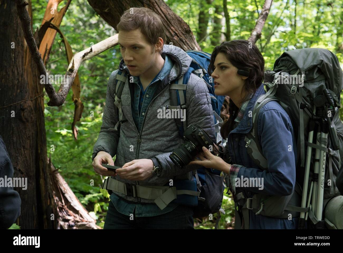 CALLIE HERNANDEZ and JAMES ALLEN MCCUNE in BLAIR WITCH (2016). Copyright: Editorial use only. No merchandising or book covers. This is a publicly distributed handout. Access rights only, no license of copyright provided. Only to be reproduced in conjunction with promotion of this film. Credit: LIONSGATE/ROOM 101/SNOOT ENT/VERTIGO ENT. / HELCERMANAS-BENGE, CHRIS / Album - Stock Image
