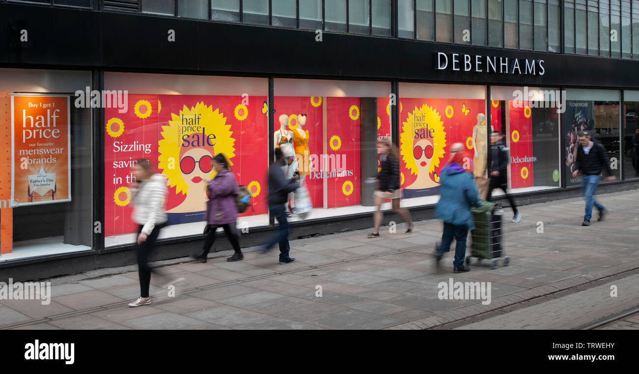 Manchester, UK. 12th June 2019. Debenhams Summer Sale;  People shops, sales, consumers, retail commercial businesses in the city centre. Credt;MediaWordlImages/AlamyLiveNews. - Stock Image