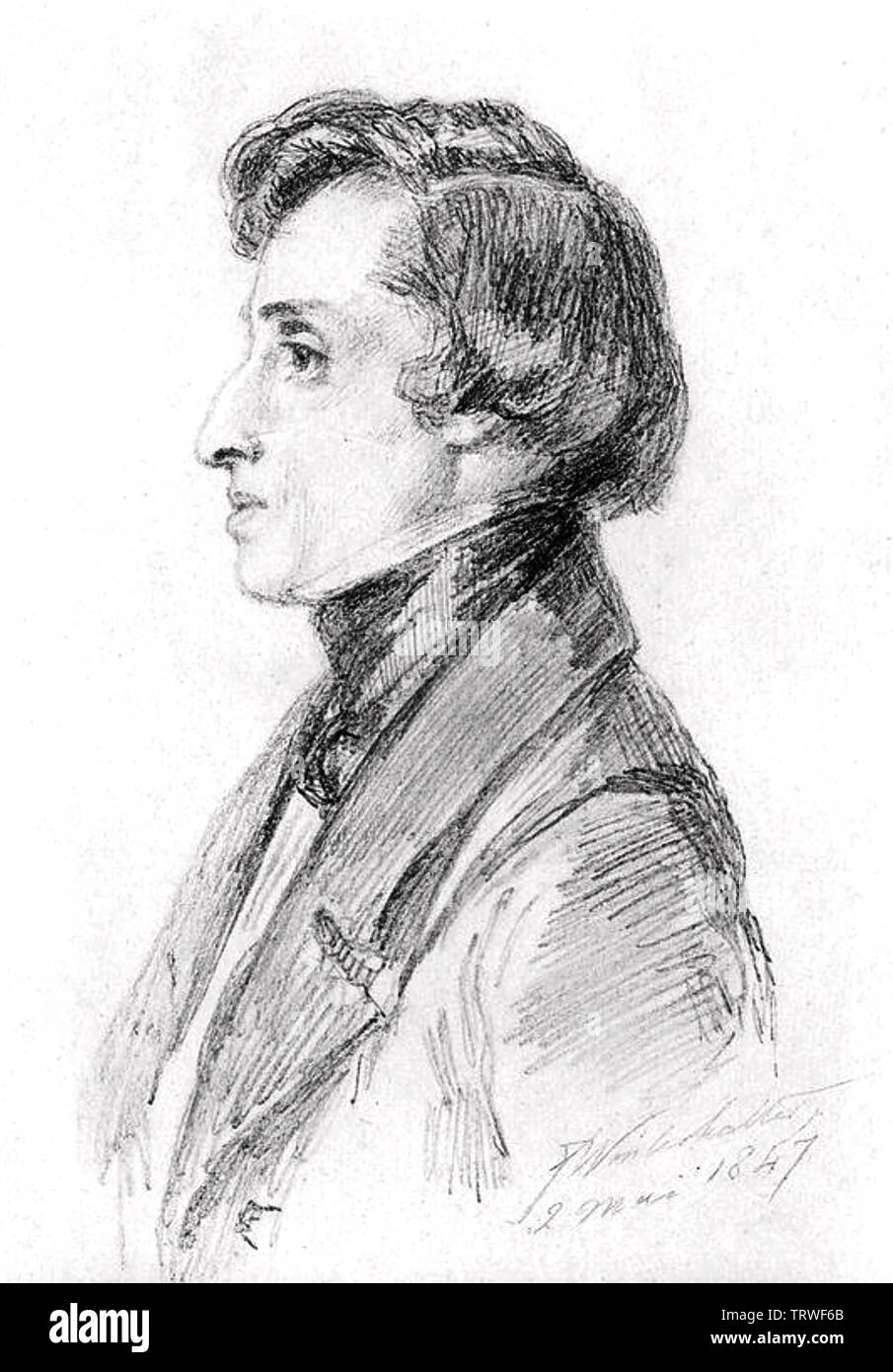 FRÉDÉRIC CHOPIN (1810-1849) Polish composer sketched in 1847 - Stock Image