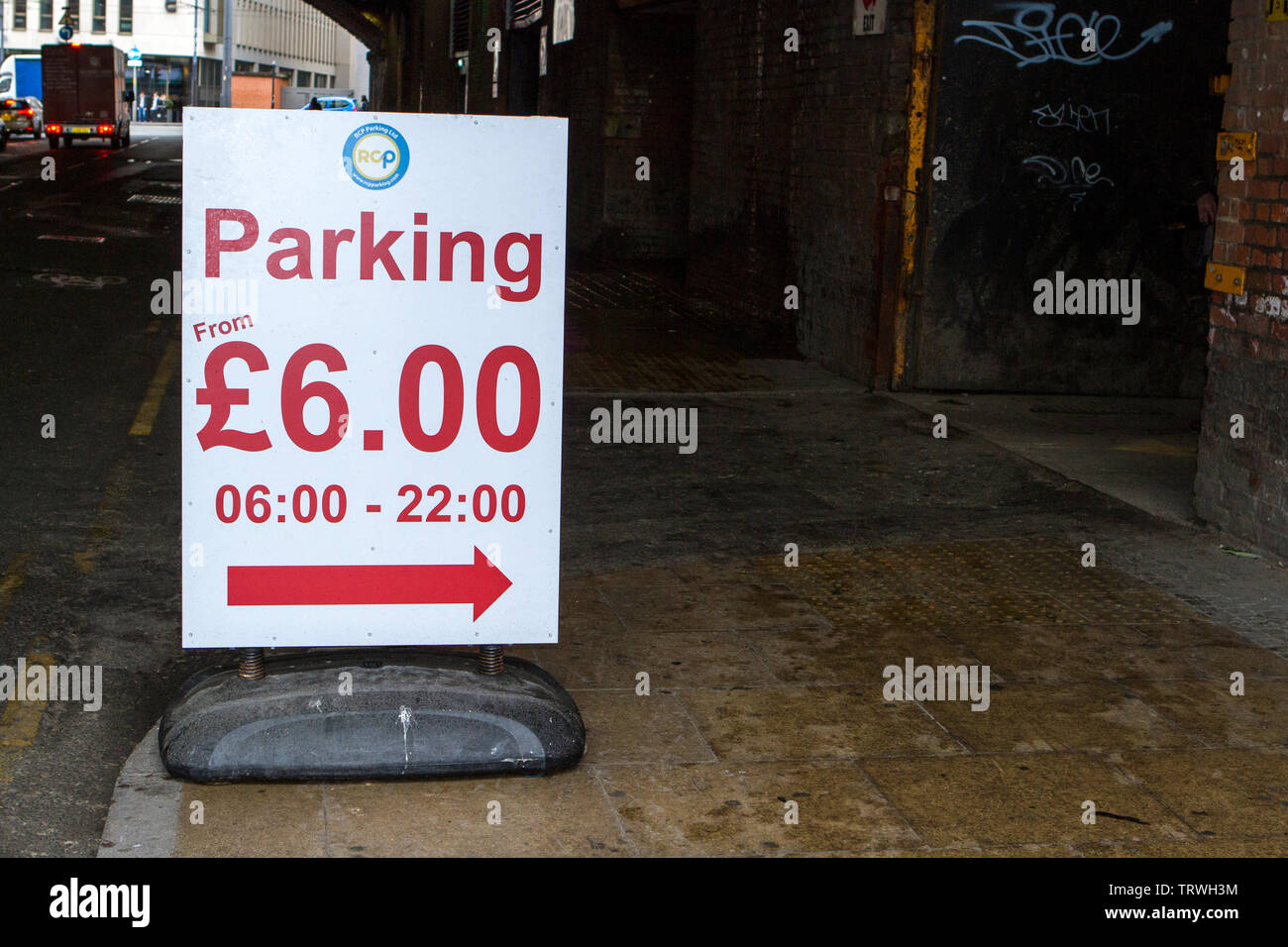 Manchester city centre car park charges sign - Stock Image